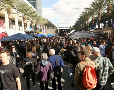A rare blue-skied moment during a heavily trafficked, but also quite rainy, NAMM Show in Anaheim CA.