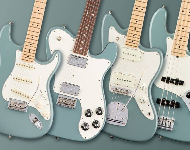 (L-R) Stratocaster, Telecaster, Jazzmaster and Jazz Bass.
