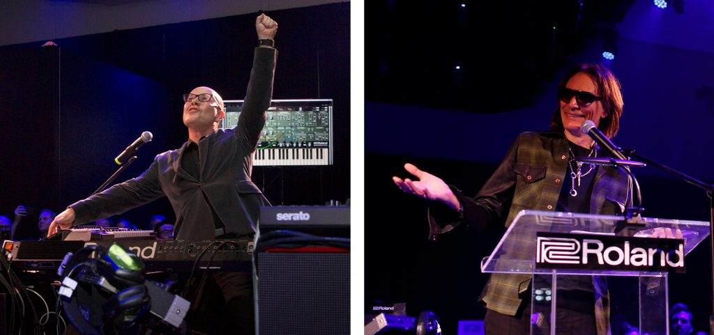 (L to R) Roland Lifetime Achievement Award Winner Thomas Dolby and BOSS Lifetime Achievement Award Winner Steve Vai