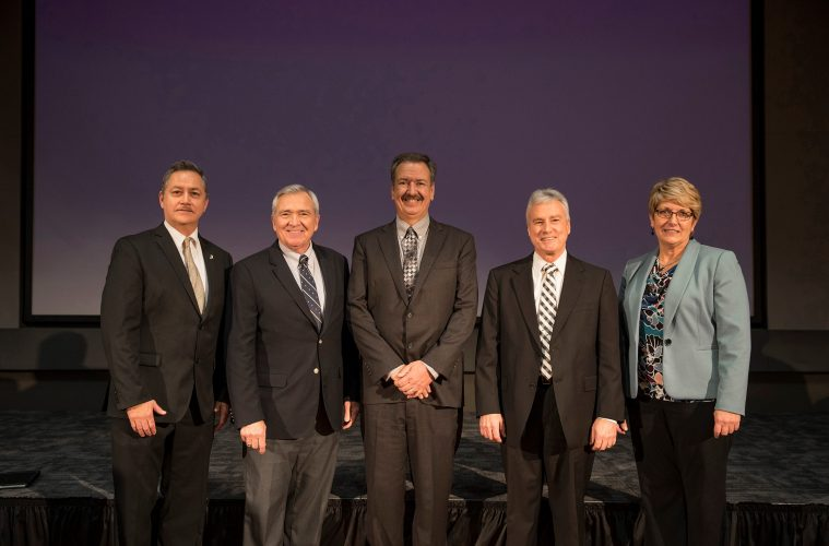 (L-R): Greg Jones, Purdue Chair, School of Music, Fort Wayne Mayor Tom Henry, Chuck Surack, Purdue Fort Wayne Chancellor Ronald Elsenbaumer, and Angie Fincammon, vice chancellor for advancement.