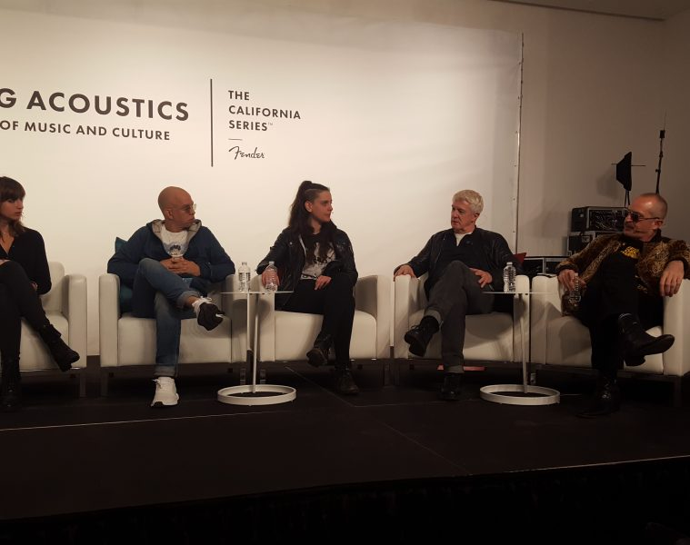 (From left) Caiti Green, Doc McKinney, Gina Gleason, Andy Mooney and Matt Sweeney discuss how the guitar has shaped music and culture at Fender's launch event for its new California Series acoustic guitars.