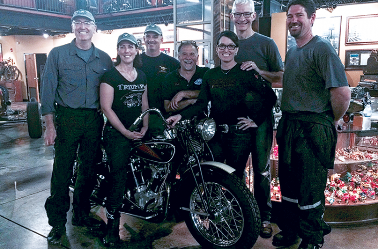 Above from left to right: Joe Lamond of NAMM, Beth Talbott and Brad Talbott from Deals Gap Motorcycle Resort, Dale Walksler from Wheels Through Time, Sandy Goff and Mark Goff from Paige's Music, and Yamaha's Garth Gillman.