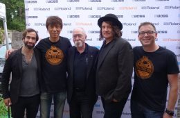 "L-R: James Hatem, Roland A/R representative; Yoshi Ikegami, President, BOSS Corporation; artist Jeff ""Skunk"" Baxter; Julian Raymond, Senior Vice President of A&R and Staff Producer at Big Machine/John Varvatos Records; and Brian Alli, Roland's Vice President of Global Influencer Relations."