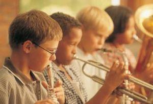 Kids making music.