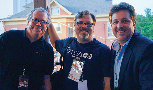 """(L-R): Casio America's Electronic Musical Instrument Division's """"dream team"""": Director of Sales Mark Amentt, GM of Marketing Mike Martin and Vice President Stephen Schmidt."""