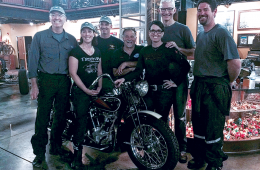 Above from left to right: Joe Lamond of NAMM, Beth Talbott and Brad Talbott from Deals Gap Motorcycle Resort, Dale Walksler from Wheels Through Time,Sandy Goff and Mark Goff from Paige's Music, and Yamaha's Garth Gillman.