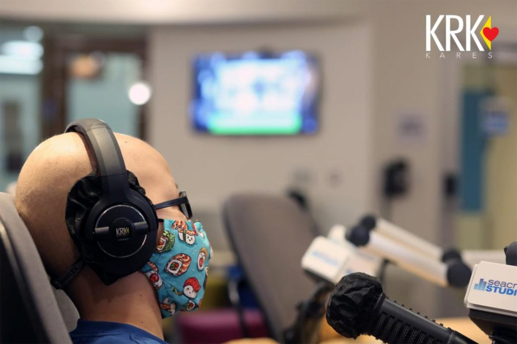 pediatric hospital patient using pro audio equipment