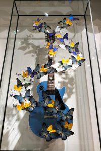 benjamin petris flying les paul guitar with butterflies art piece