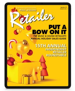 music & sound retailer september 2021 edition on a tablet display